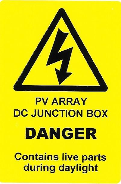 PV ARRAY DC JUNCTION BOX Label (PV02)
