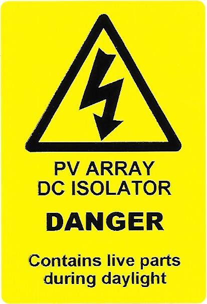 PV ARRAY DC ISOLATOR Labels (PV03)
