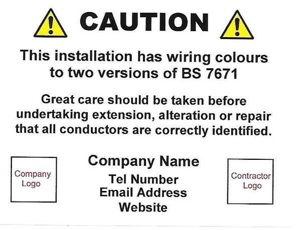 Personalised Caution / Mixed Wiring Labels with Two Logos (CAU005)