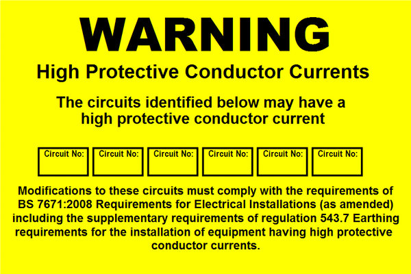 High Protective Conductor Currents Label (WAR08)