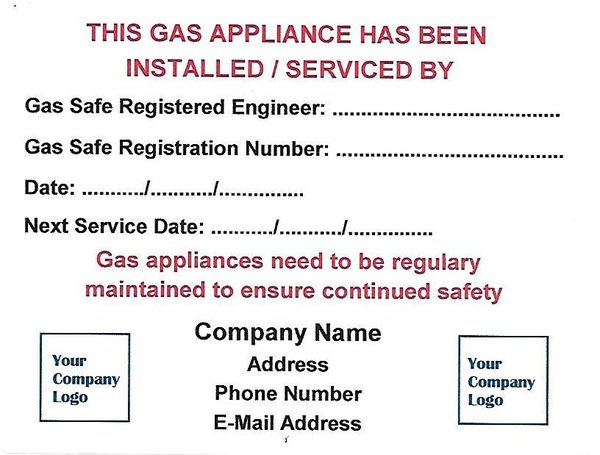 Personalised Gas Serviced Labels (GAS01)