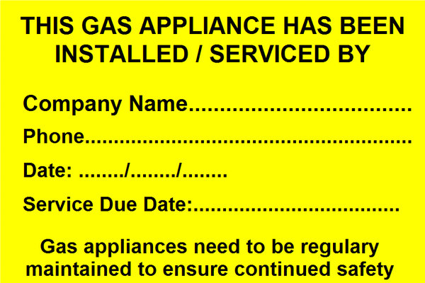 Gas Serviced label (GAS04)
