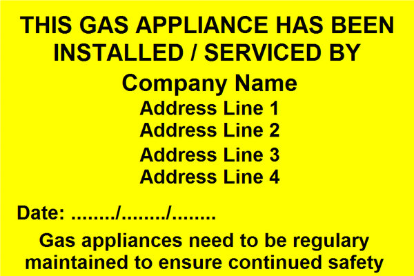 Gas Appliance Installed / Serviced Label (GAS05)