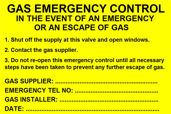 Gas Emergency Control Label (GAS06)