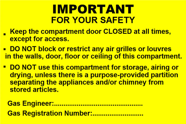 Important for your Safety Labels (GAS07)