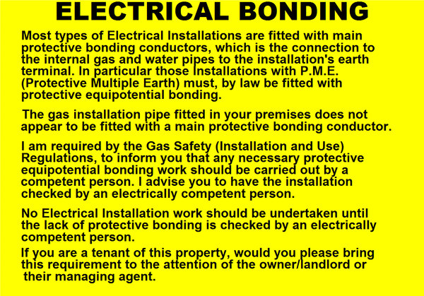 Electrical Bonding Label (GAS08)