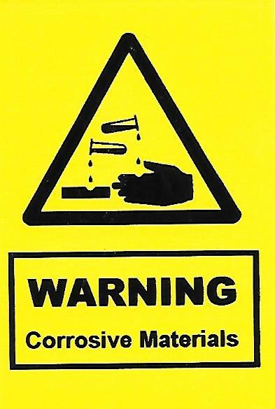 Warning Corrosive Materials Label (HS02)