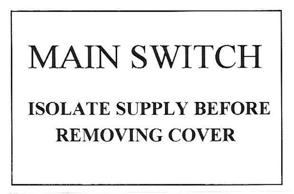 MAIN SWITCH Label (MS01)